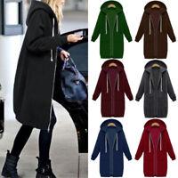 Women Zipper Open Hoodie Sweatshirt Long Coat Jacket Top Outwear Oversized