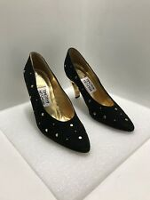 TIMOTHY HITSMAN  Women's Black Suede With Gold Studs Classic Pumps Size 6M