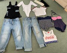 Ladies Bundle Of Clothes Size 8 / 10 Jeans Playsuit Crop Top Swimsuit