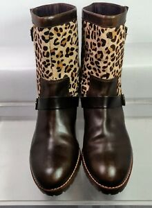 Sperry Top-Sider Women's Britt Dark Brown/Leopard Pony Boot US 7.5