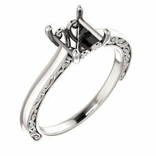 Semi Mount Setting 14k White Gold Engagement Ring Vintag For Princess Cut Stone