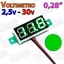 Mini Voltimetro 2,5v - 30v DC 0,28 Pulgadas 2 hilos - VERDE - Arduino Electronic