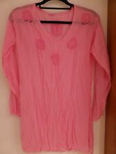 Pink Cotton Swimwear Cover-Up Size Medium Bought & Made in India Long Sleeves