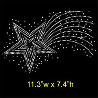 Shooting Star Rhinestone / Diamante Hotfix Iron on Transfer Motif Appliqué