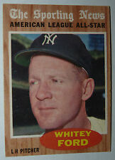 EX+ WHITEY FORD NY YANKEES 1962 TOPPS SPORTING NEWS ALL STAR BASEBALL CARD #475