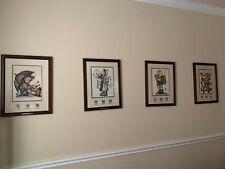 Vintage Hummel prints with post stamps set of 4 17 x 22
