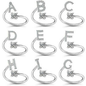 Fashion Crystal Adjustable Gold 26 Initial Letter Open Ring Women Jewellery Gift