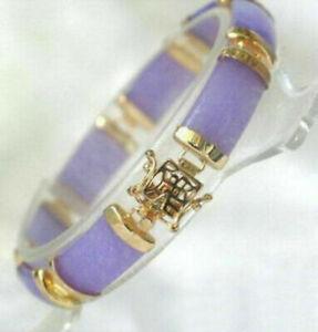 Purple Jade 18KGP Fortune Link Clasp Bracelet+box
