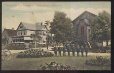 1909 POSTCARD ALLIANCE OH/OHIO FIRE DEPT 8 FIREMEN IN PARK