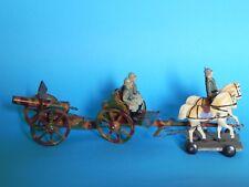 Hausser-Elastolin: Artillerie mit Protze, 3 Figuren und 2 Pferden.