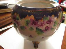 Antique cobalt,purple floral gold trim three legged porcelain vase,urn no lid