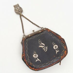 Antique Tyrol Sarner Tasche Chatelain Belt Purse Beutel Bag Quill Embroidery