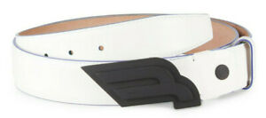 Bally Men's White Leather Carby Belt One Size Cut to Fit