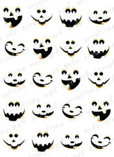 20 HALLOWEEN NAIL DECALS -CUTE JACK O LANTERN FACES WATER SLIDE DECALS PUMPKIN