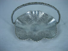 Vintage Hand Made Aluminum Candy Dish with High Handle Embossed Roses & Leaves