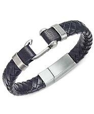 $40.00  Steve Madden Stainless Steel Leather Braided Bracelet, Black