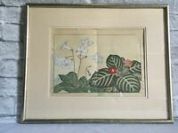 Japanese Signed Botanical Watercolor