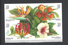 US Scott # 3310 - 3313 / 33c Tropical Flowers, SA Block of 4 1999 Issue