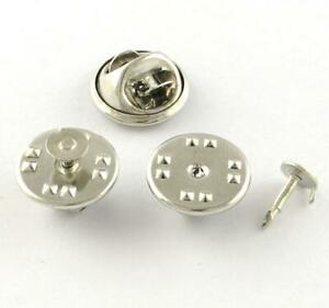 20 PIN BADGE BUTTERFLY BACKS WITH PINS LAPEL CLUTCH CLASP SILVER PLATED TS75