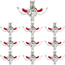 Bulk 10pcs!  Silver Enamel Heart Wing Beads Cage Locket Pendant K1070