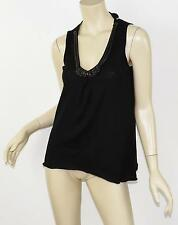 MAGASCHONI Black Silk & Cashmere Knotted Chain Necklace Embellished Tank XS