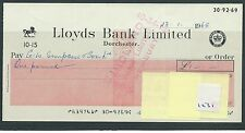 wbc. - CHEQUE - CH1231- USED -1968- LLOYDS BANK, DORCHESTER