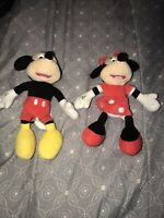 """Set of 2 - Disney Mickey and Minnie Mouse Plush 7"""" Characters Stuffed Animal Toy"""