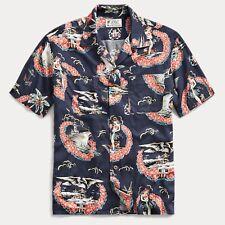 RRL Ralph Lauren 1930s Vintage Inspired Tropical Print Camp Shirt-MEN- M