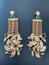 GOLD MESH EARRINGS WITH EMERALD