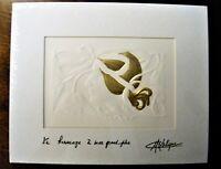 Lalique - Embossed Print - Masque de Femme - Gold Accent - signed M. Lalique '92