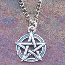 925 sterling silver interwoven PENTACLE PENTAGRAM Wicca Charm Pendant Necklace