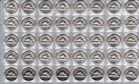 Canada 1964 Five Cent UNC BU MS Nickel Roll of 40 Coins!!