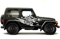 Vinyl Graphics Decal Wrap Kit for 99-06 Jeep Wrangler Torn Army Star MATTE WHITE