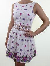 TOPSHOP ivory cream floral print crochet waist insert tea dress size 10 eu 38