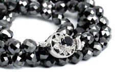 Super Shine 8mm Black Diamond Faceted Beads Necklace 28 Inches