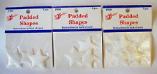 Lot of 3 Sealed Pkgs Appliques Padded Stars Satin Sew On Glue On by Shafaii Co