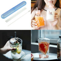 2Pcs/Set Reusable Glass Drinking Straws With Cleaner Brush+Straw Box Party Bar