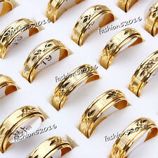 10pcs Wholesale lots Jewelry Gold Plated Stainless steel Rings