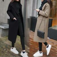 Womens Wool Blend Lapel Collar Coat Long Parka Trench Jacket Outwear Korean Warm