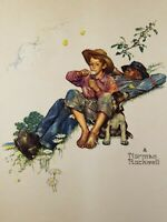 "Vintage Norman Rockwell Embossed Print 'Grandpa and Me Picking Daisies"" 8 x 10"