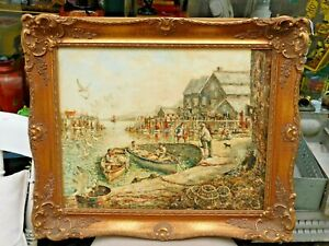 Original Oil Painting Norman Olley / Framed / A Corner of The Harbour / Padstow