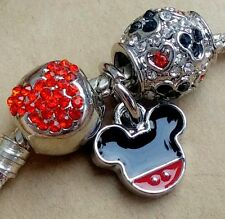 Disney Mickey Enamel Icon Red Crystal Mouse Head & Hearts European Beads Charms