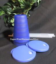 Tupperware NEW Lupine 16 oz Impressions DRIPLESS TUMBLERS Set 2 Clear Straws