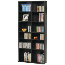 DVD Storage Rack Organizer Media Cabinet CD VHS Blu-Ray Tall Adjustable Shelf