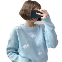 Women Cute Harajuku Sweater Pullover Clouds Japan Blue Sky Pink White top