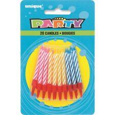 Party Birthday Cake Candles 20PK Blue Pink Yellow Stripe Anniversary Cupcake
