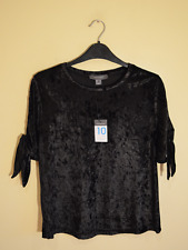 New! Atmosphere black velvet cold shoulder top - UK 10 - t-shirt bow cute retro