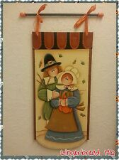 Hand Painted  Thanksgivings Wooden Banner, Wall Hanging, Sign, Pilgrims