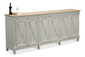 """96"""" Felicita Cabinet I Antique Muted Grey Solid Pine Wood Natural Top Removable"""