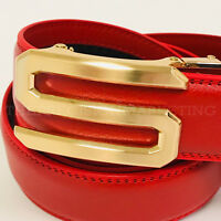 Fashion Designer Men Automatic S Buckle Style Red Black Leather Men Women Belts